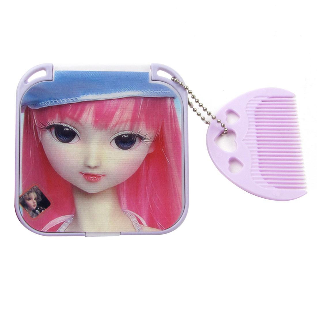 Ladies Cartoon Cover Make Up Pocket Square Design Mirror w Light Purple Comb