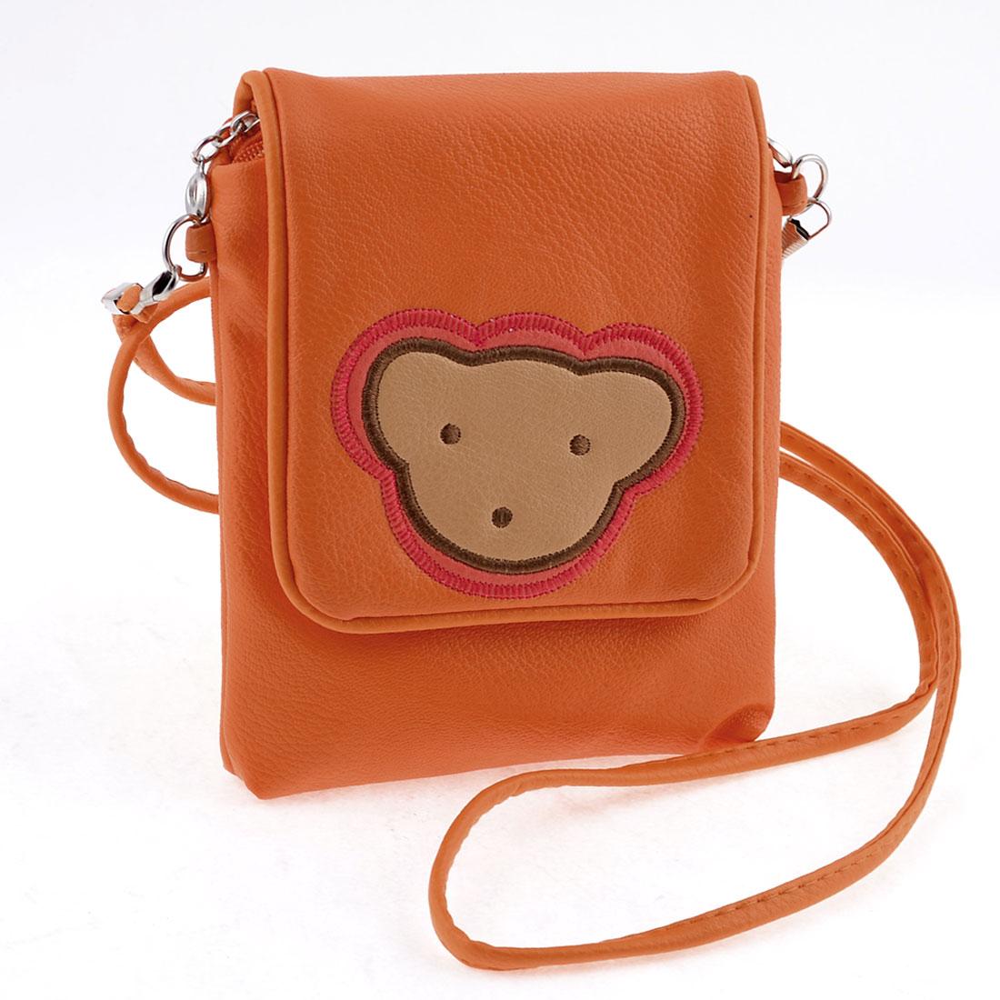 Ladies Orange Zippered 2 Pockets Magnetic Button Closure Lid Shoulder Bag Purse
