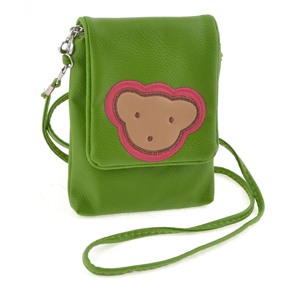 Ladies Green Zippered 2 Pockets Magnetic Button Closure Lid Shoulder Bag Purse