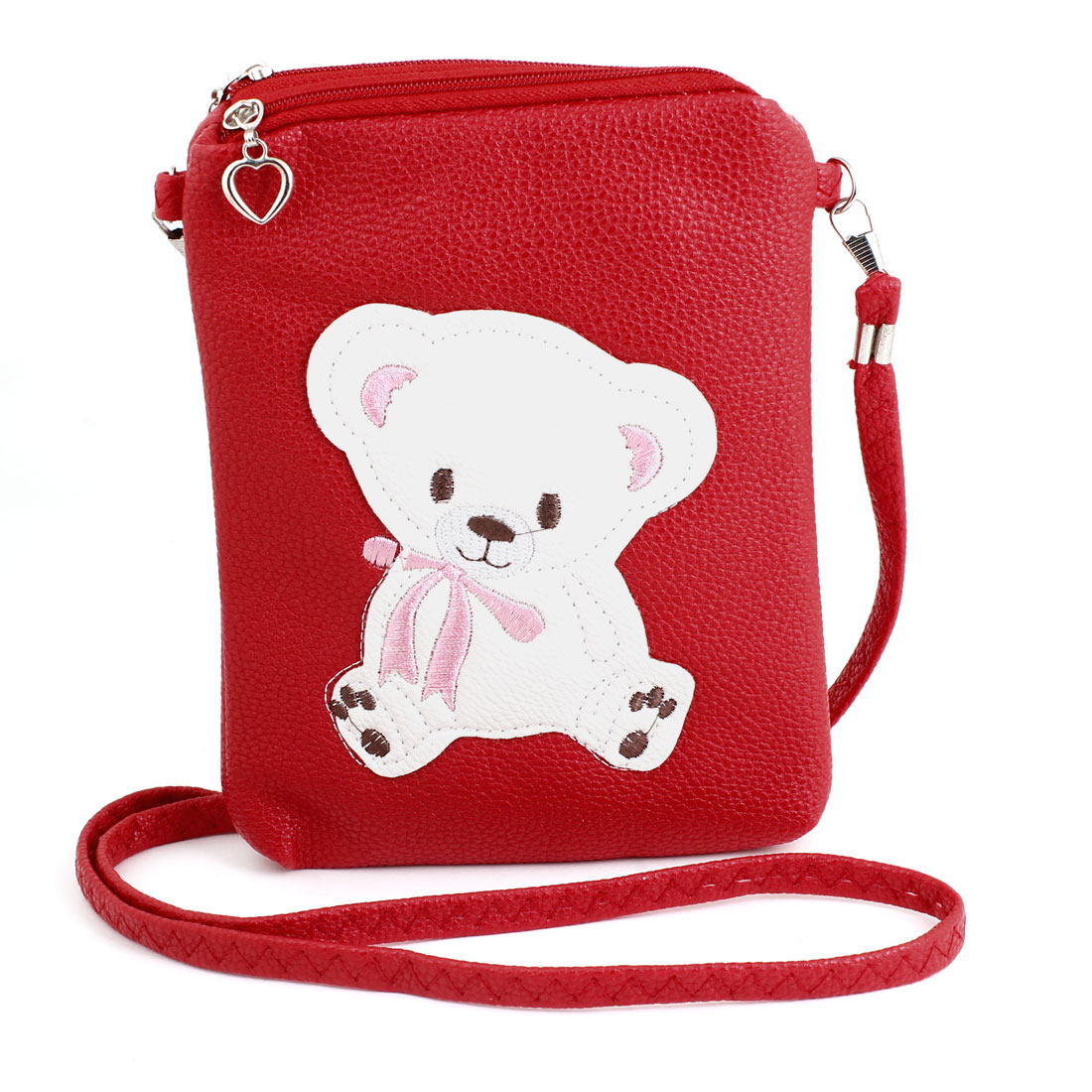 Litchi Pattern Red Faux Leather Zip up Purse Key Card Bag for Women