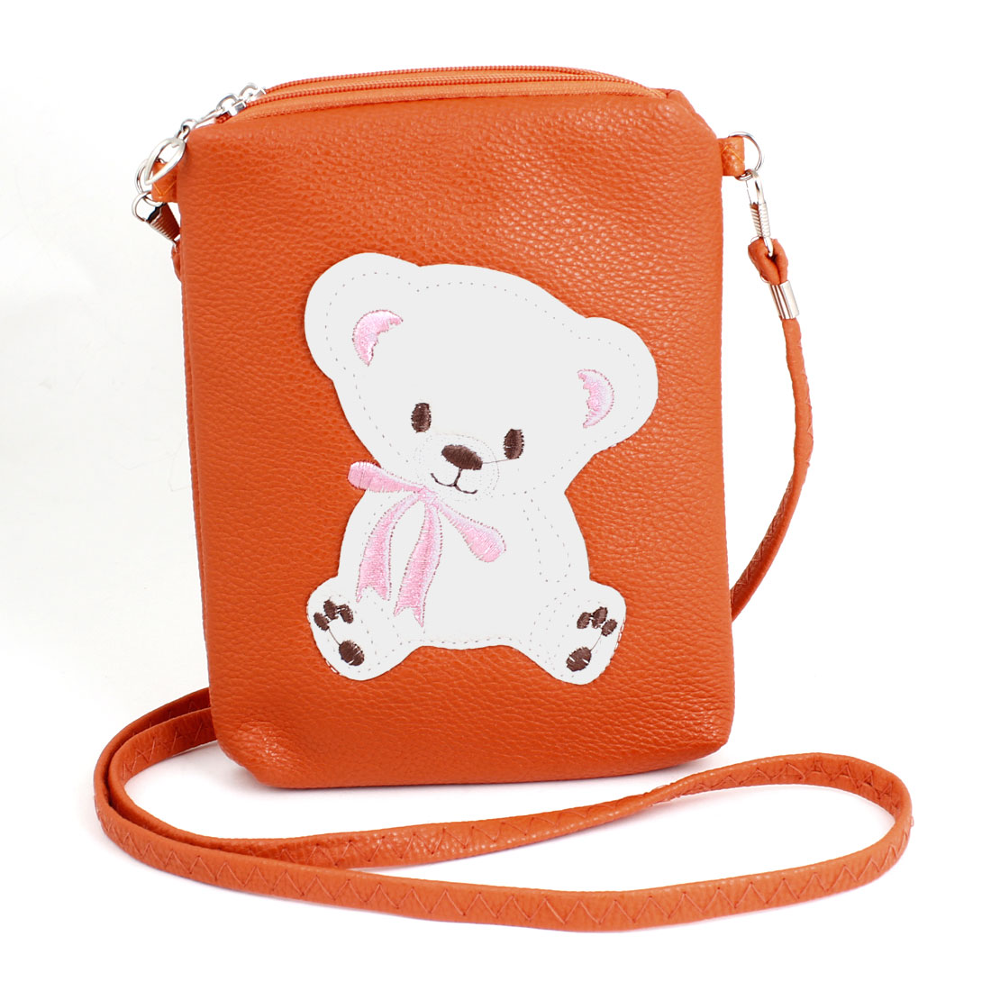 Woman Lady Bear Decor Faux Leather Zippered Shoulder Bag Orange w Strap
