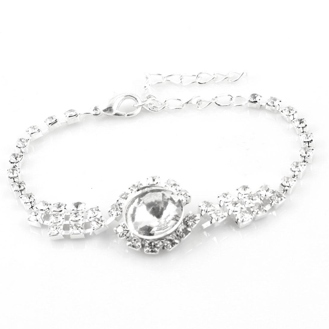 Woman Silver Tone Rhinestone Detail Round Pendant Charm Bracelet Bangle Chain