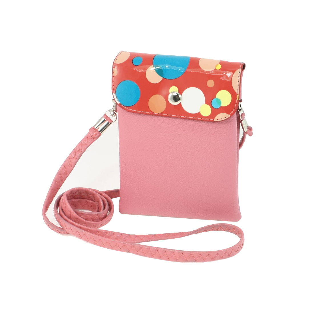Colorful Bubble Pattern 2 Compartments Shoulder Coin Phone Handbag Pink