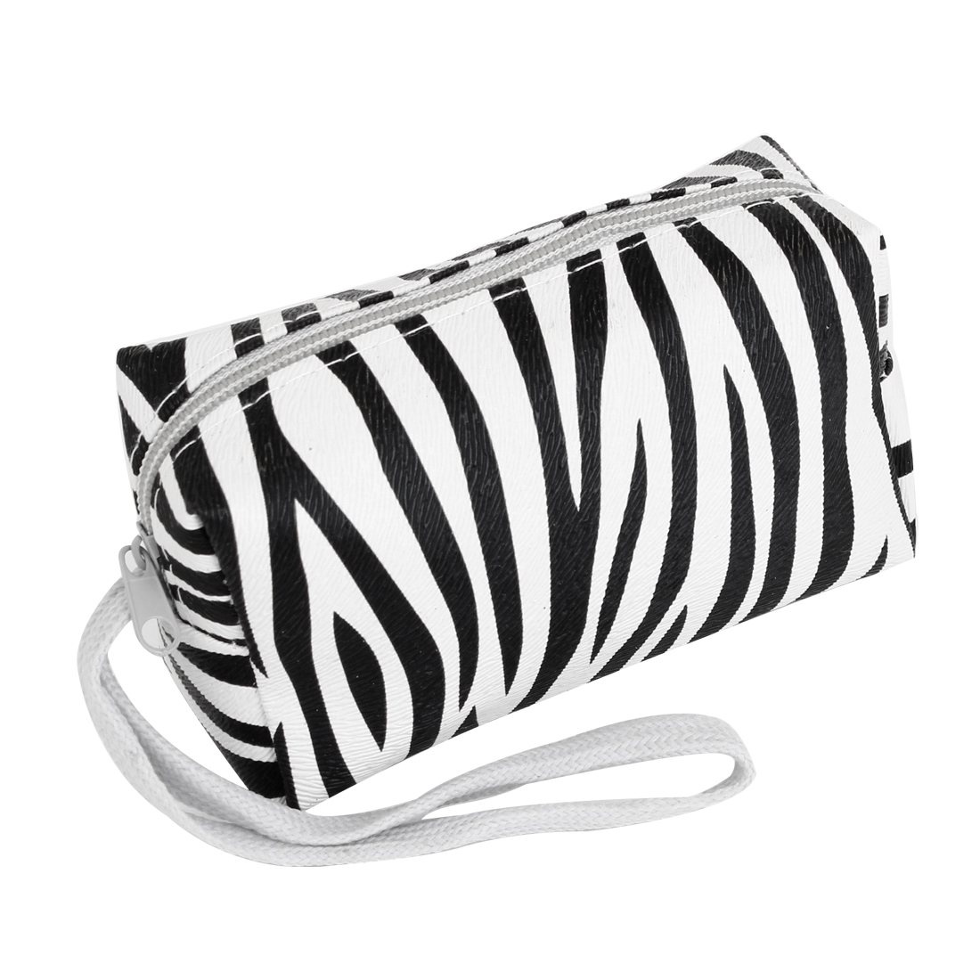 Black Zebra Pattern Faux Leather Mini Purse Money Card Holder for Women