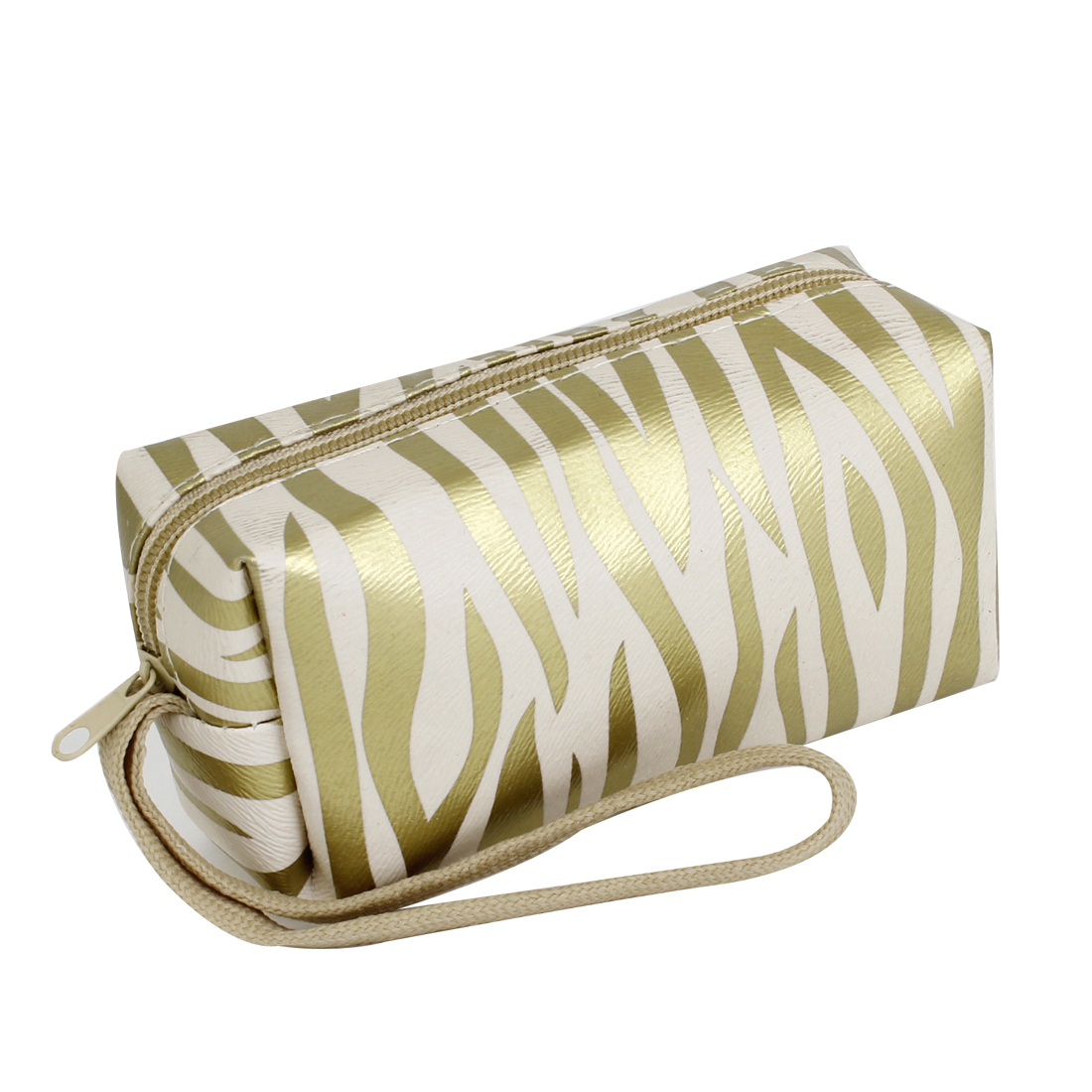 Gold Tone Zebra Pattern Faux Leather Mini Purse Money Card Holder for Women
