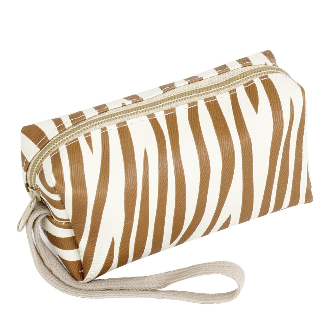 Woman Lady Brown Zebra Print Zipper Closure Key Holder Purse Wallet w Strap