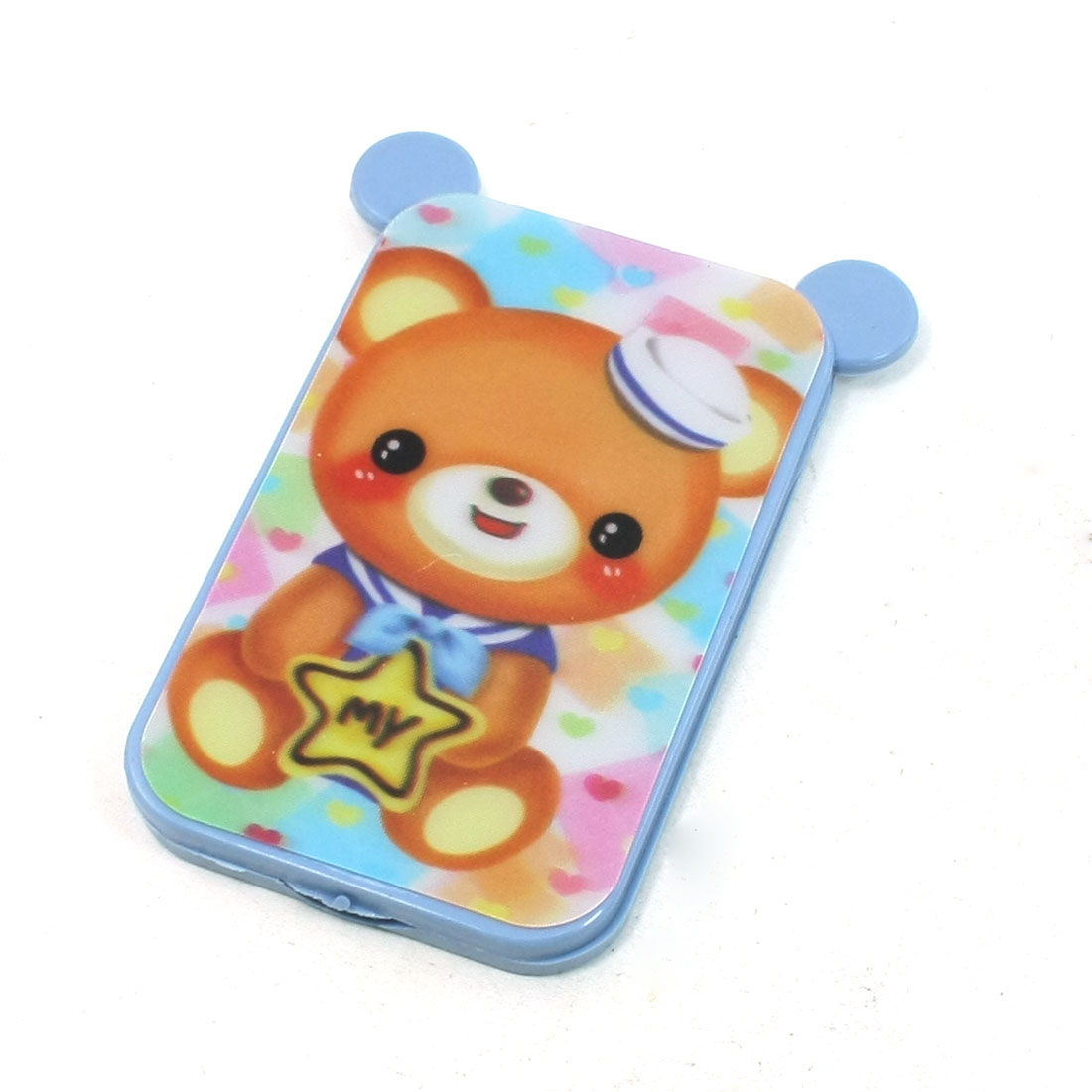Light Blue Cute Bear Pattern Plastic Portable Rectangle Folding Mirror Comb