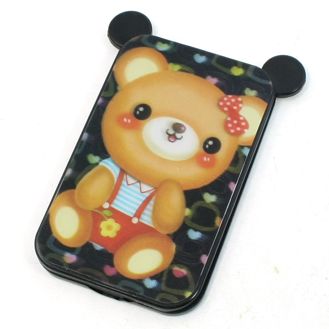 Cartoon Bear Pattern Black Plastic Cover Cosmetic Foldable Mirror Comb Set
