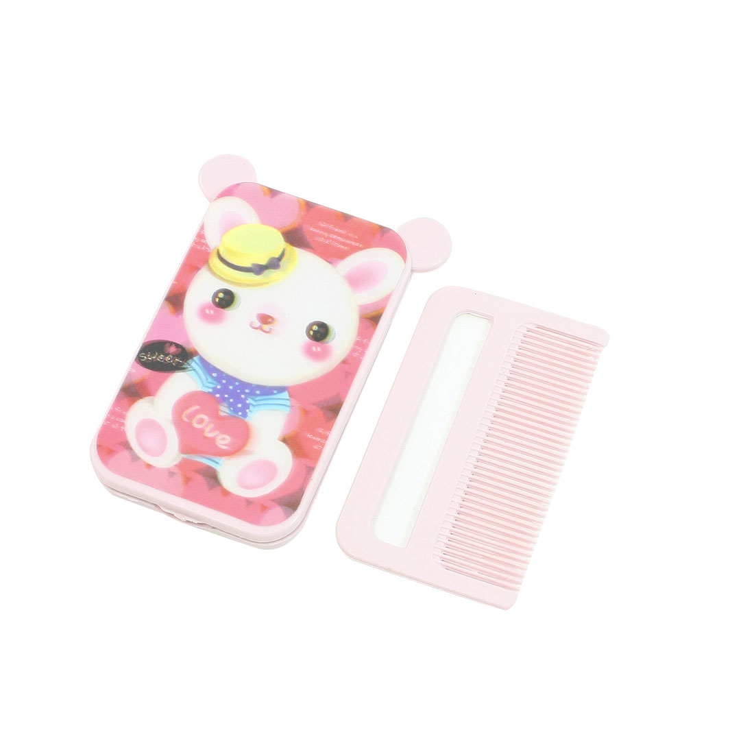 Protable Rectangle Pink Housing Foldaway Make Up Mirror Comb Gift for Woman