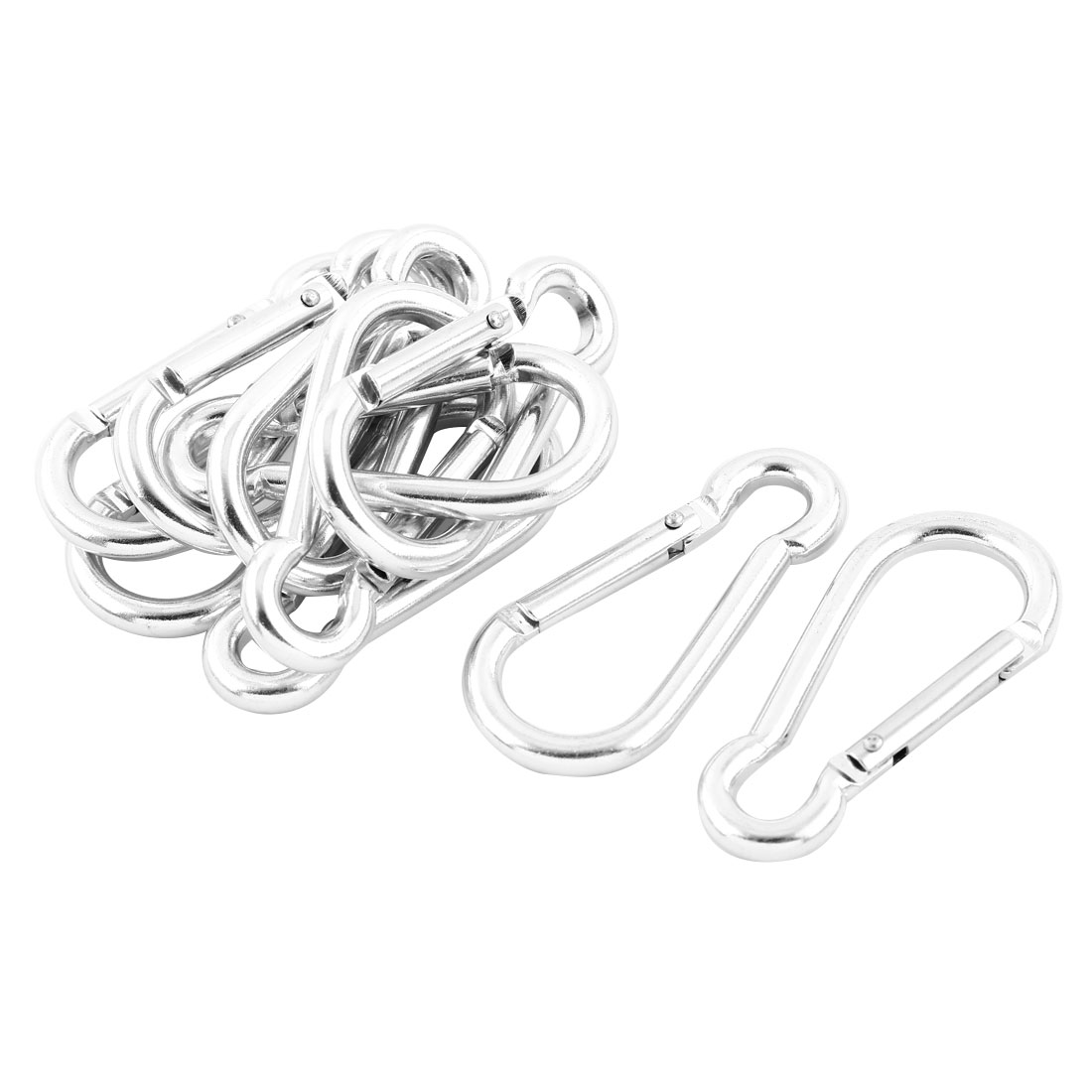 60mm Long Spring Loaded Lock Silver Tone Alloy Safety Carabiner Hook 10pcs