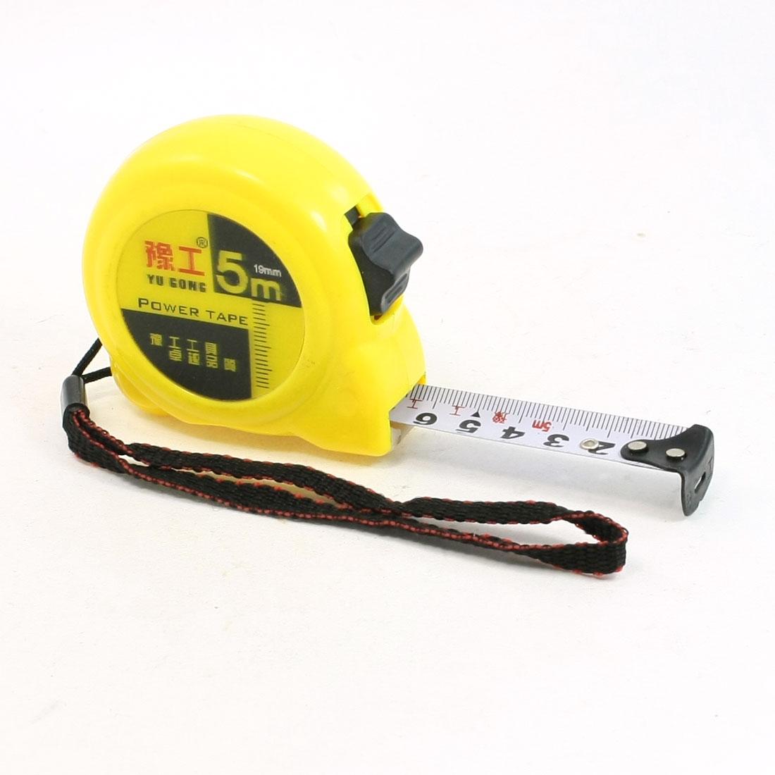 Belt Clip Single Scale 5M Flexible Measuring Tapeline Tape Ruler Yellow