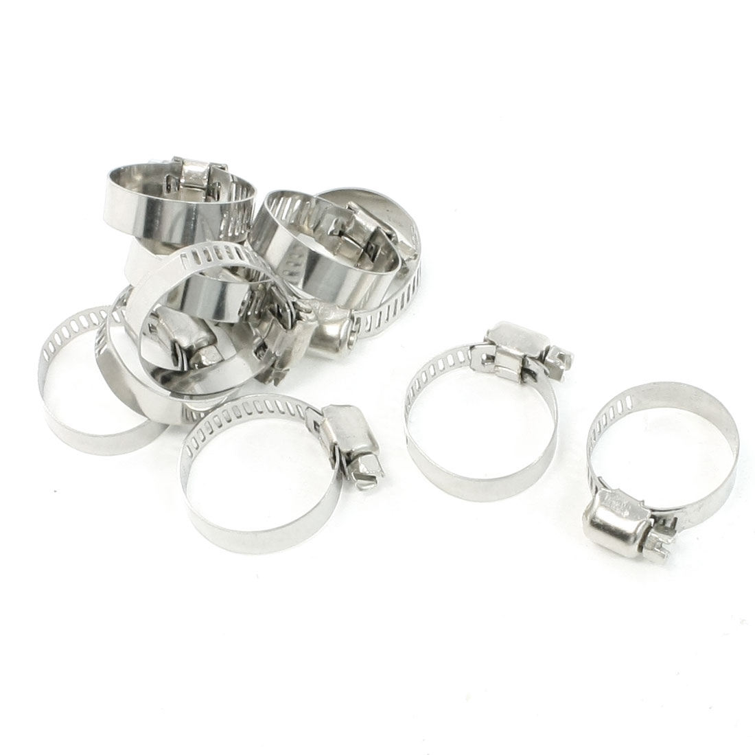 10 Pcs Adjustable Stainless Steel Worm Drive Hose Clips 16mm-25mm