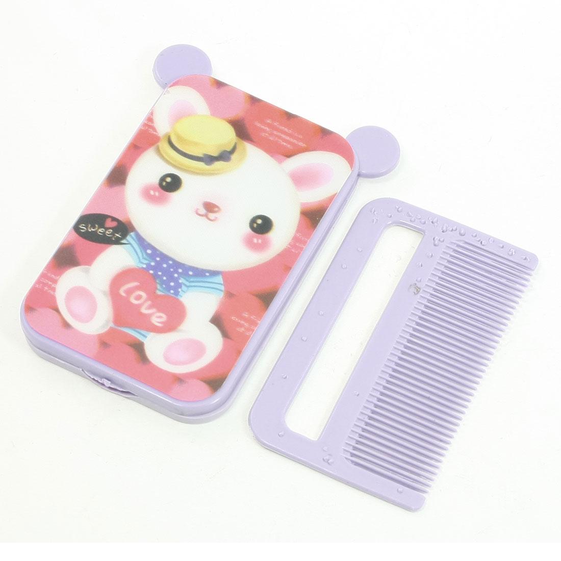 Purple Cute Bear Printed Plastic Portable Cartoon Folding Mirror Comb