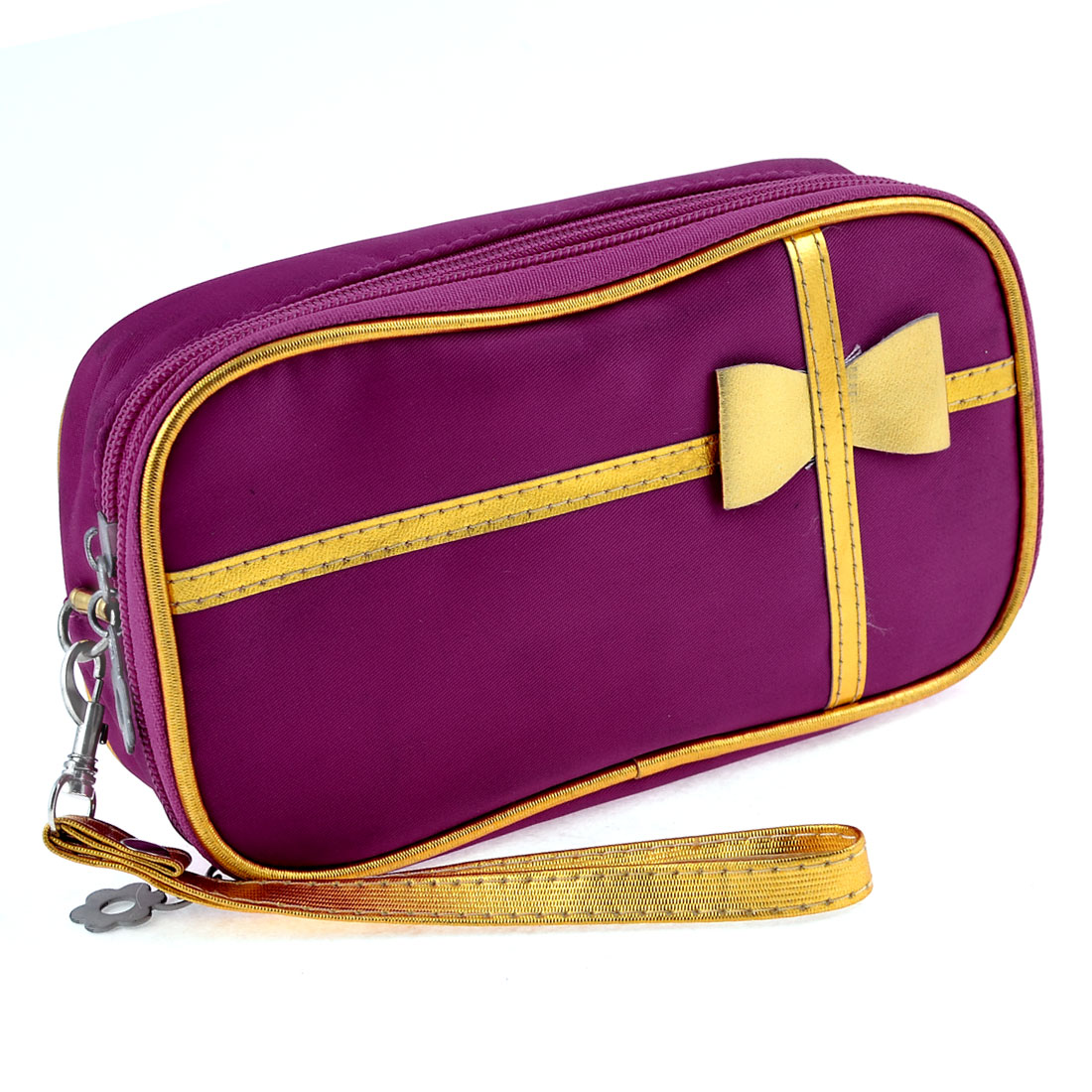 Gold Tone Bowtie 2 Layers Zippered Beauty Cosmetic Bag Holder Fuchsia w Strap