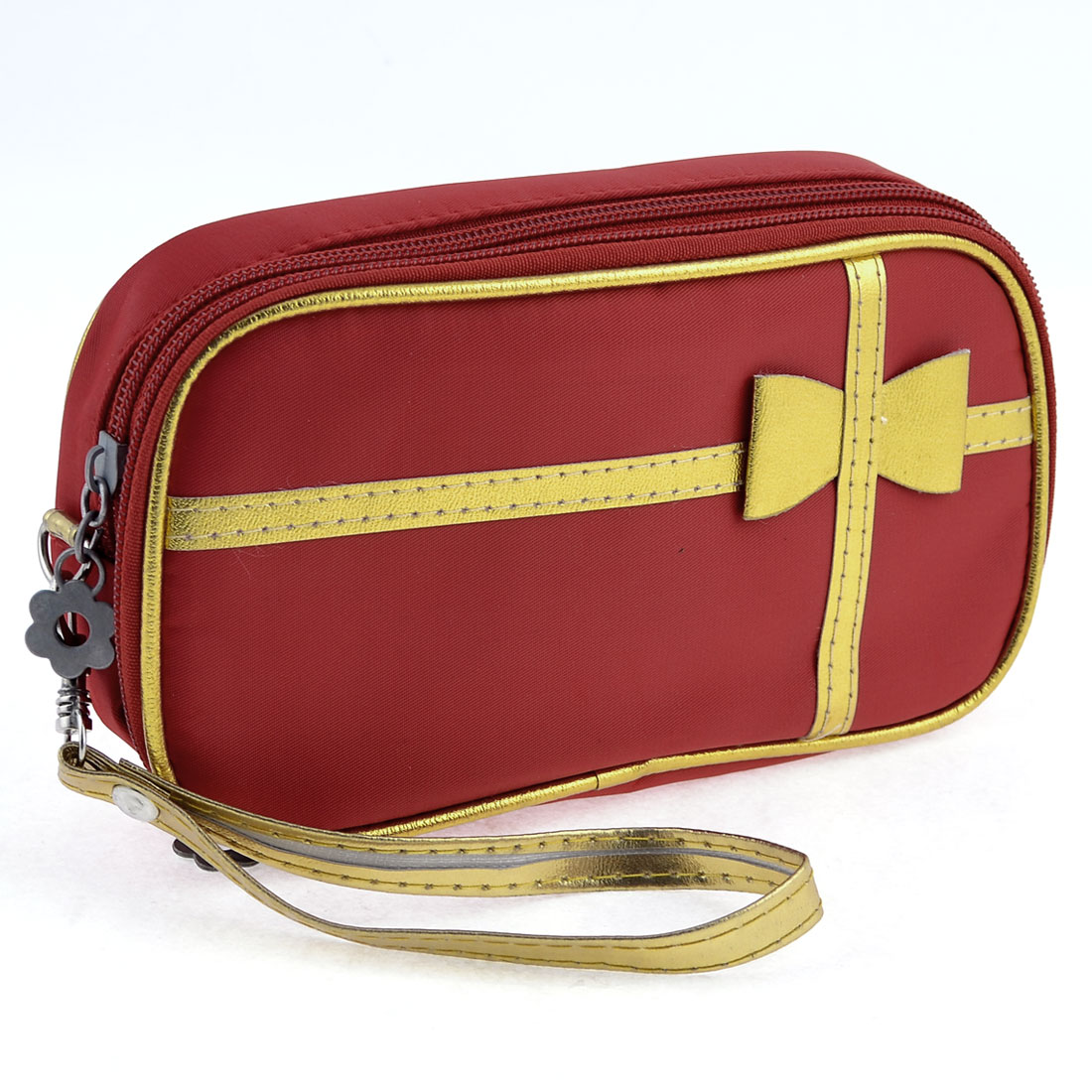 Lady Bowtie Accent 2 Compartments Red Zip Up Cosmetic Bag Holder w Mirror