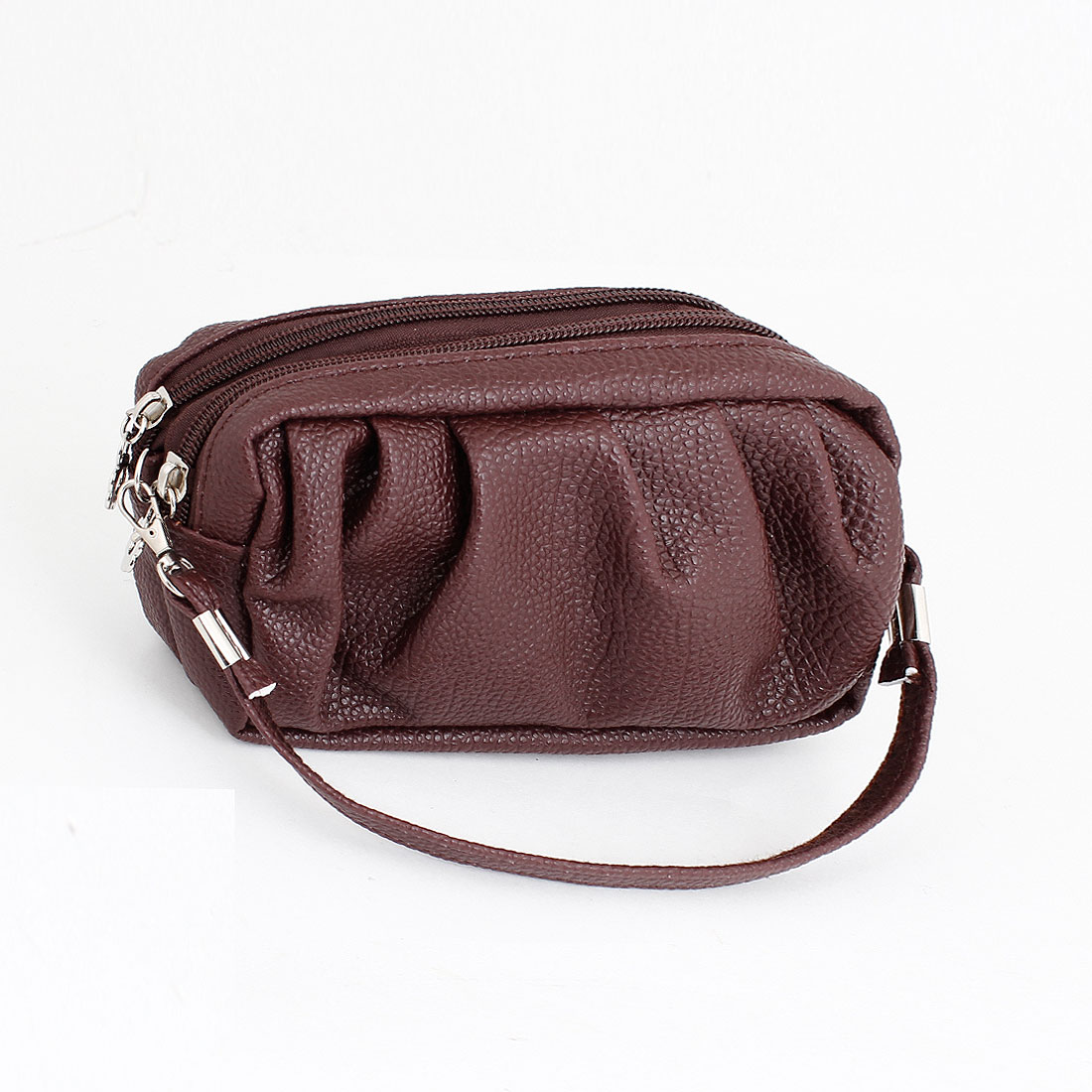Dark Brown Faux Leather Pleated Design Zippered Coin Holder Purse for Women