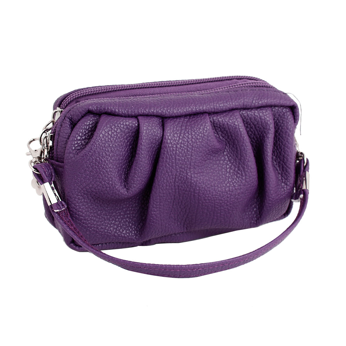 Purple Faux Leather Pleated Design Zippered Coin Holder Purse for Women