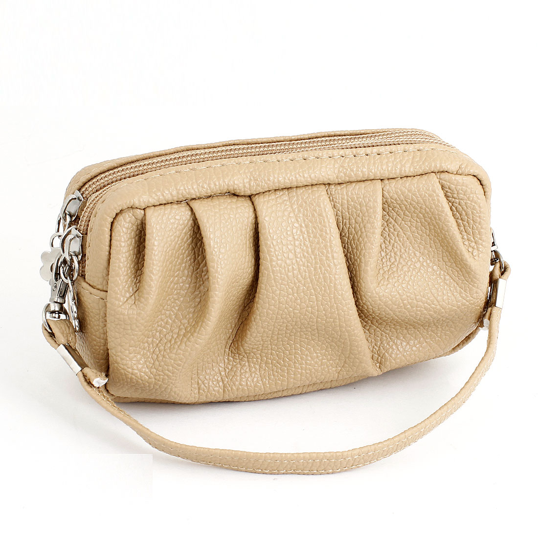 Woman Khaki Pleated Style Faux Leather 2 Compartments Zip up Purse Wallet