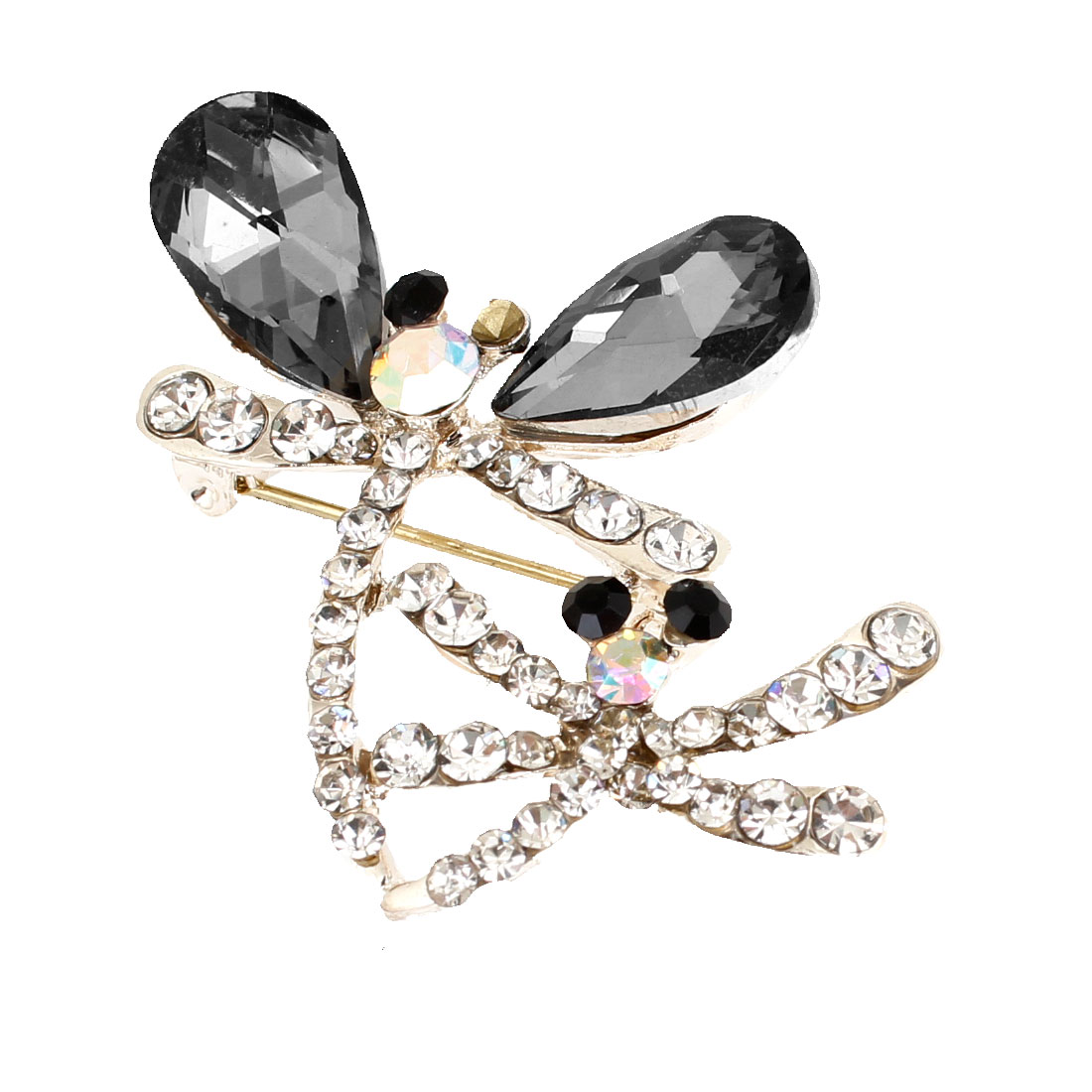 Lady Safety Pin Clip Closure Rhinestones Dragonfly Shape Brooch Silver Tone