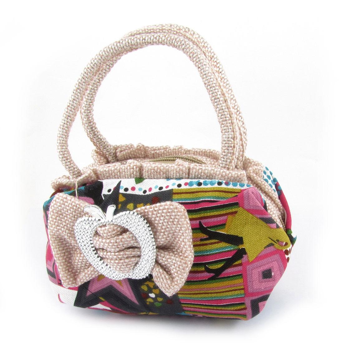 Ladies Multicolor Plaids Stripes Pattern Nylon Zipper Wallet Handbag