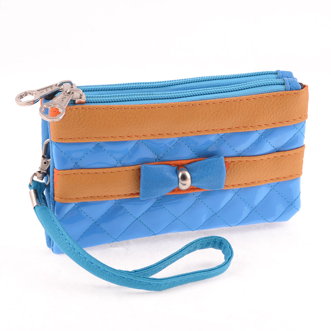 Laides Faux Leather 2 Compartments Zipper Closure Wallet Purse Blue Orange