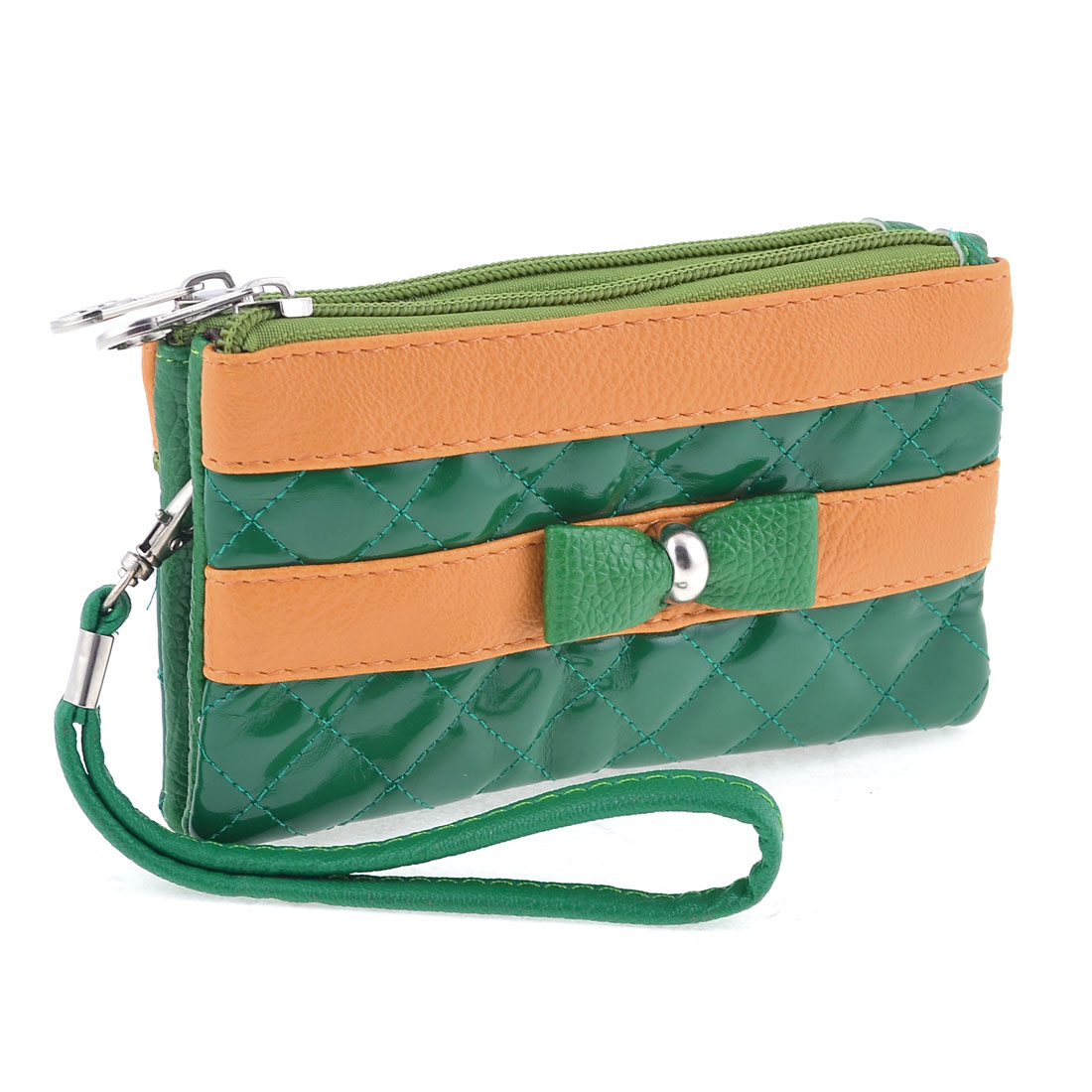Bowknot Decor Zipper Closure Faux Leather Nylon Lining Purse Wallet Green Orange