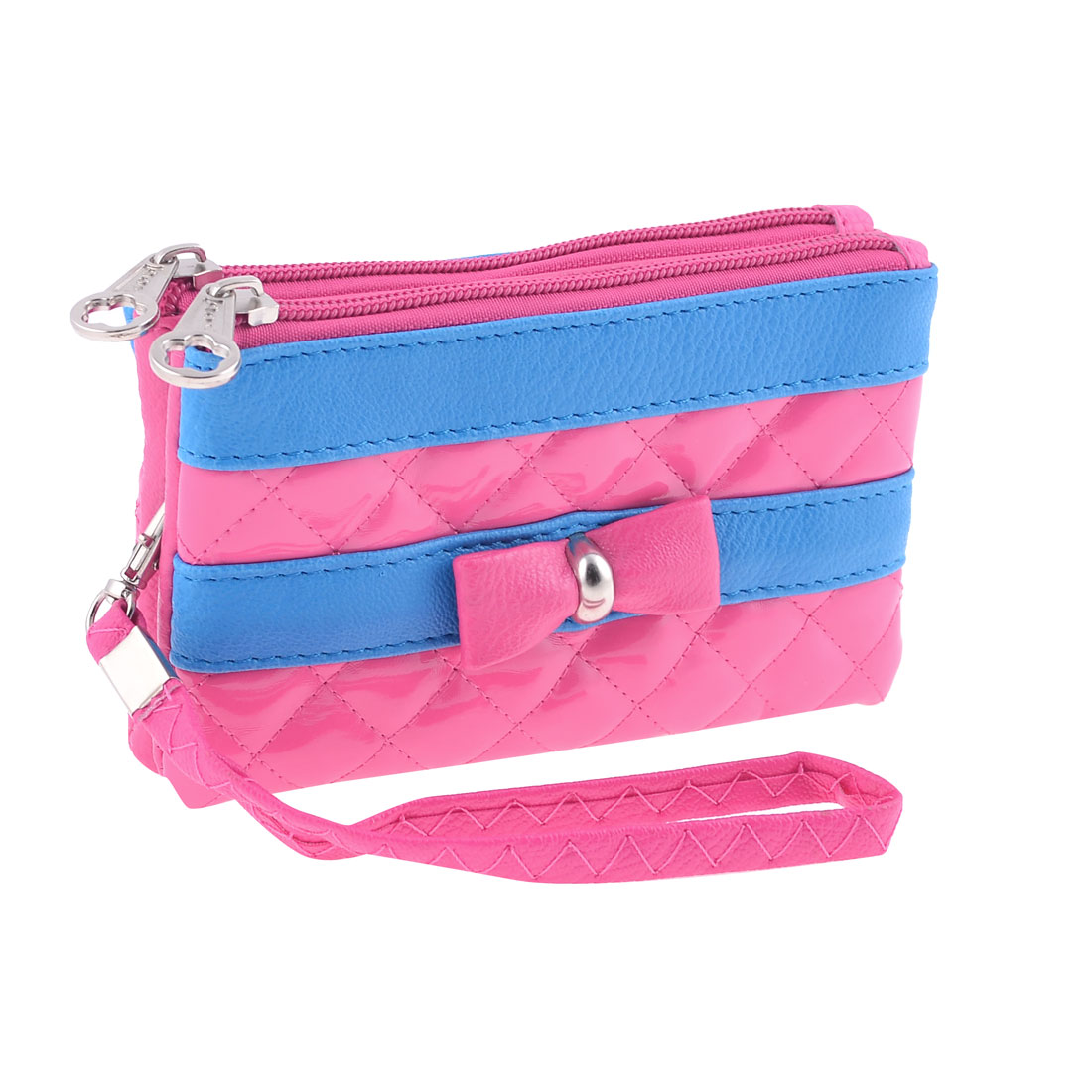 Lady Bowknot Decor Zipper Closure Faux Leather Fuchsia Blue Purse Bag