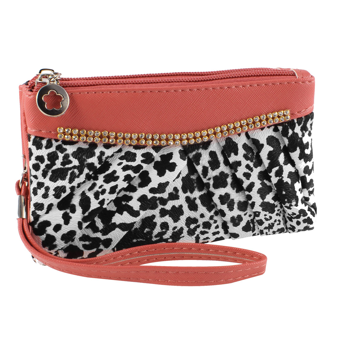 Dual Compartment Zip Up Leopard Print Faux Leather Wallet Purse Watermelon Red