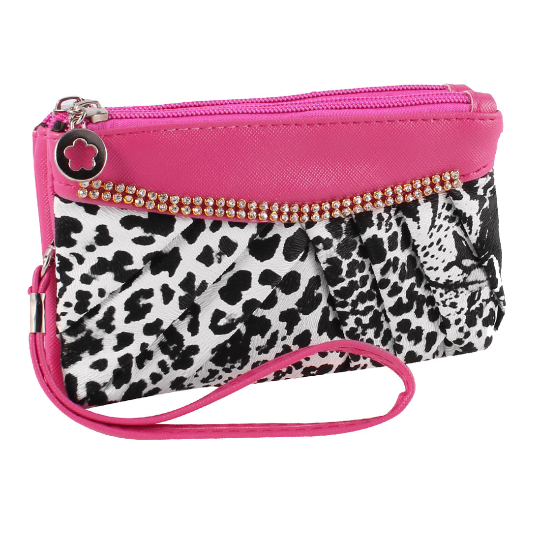 Ladies Rhinestones Accent Fuchsia Black Leopard Print Hand Strap Wallet Purse