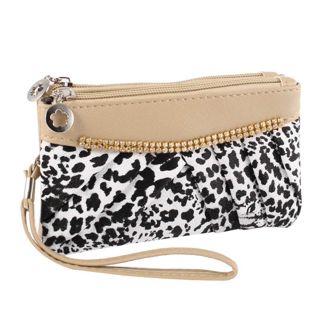 Woman Dual Compartments Zip Up Leopard Prints Faux Leather Wallet Purse Khaki