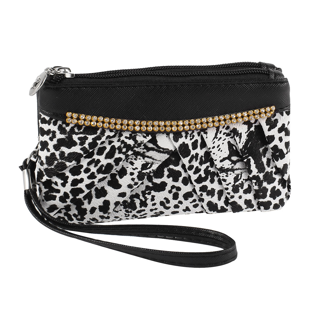 Woman Rhinestones Decor White Black Leopard Pattern Hand Strap Wallet Purse