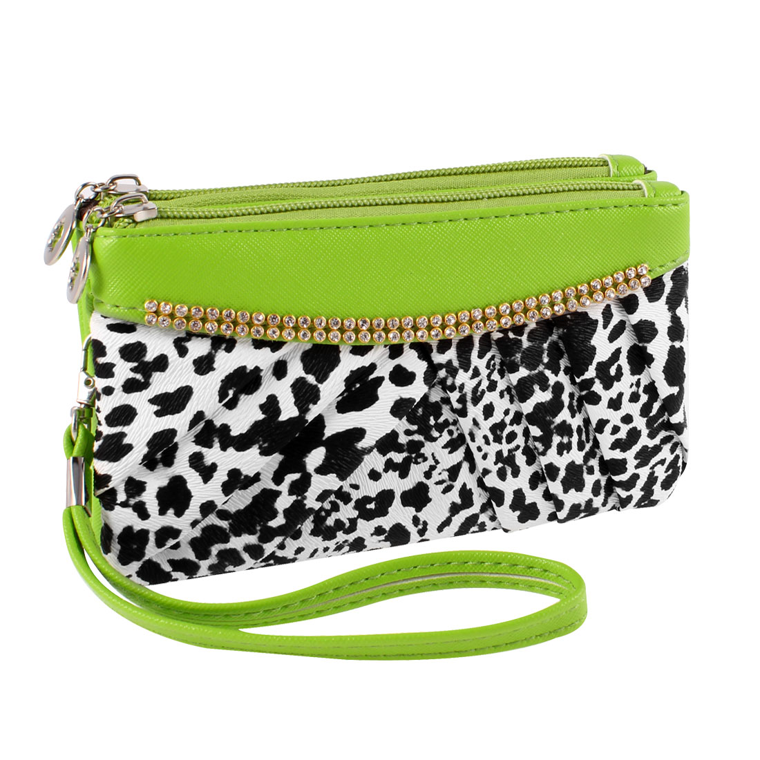 Zippered Green Faux Leather Leopard Printed 2 Layers Hand Strap Wallet Purse