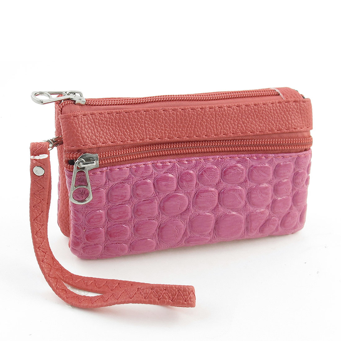 Crocodile Pattern Zipper Closure Faux Leather Purse Bag Fuchsia for Lady