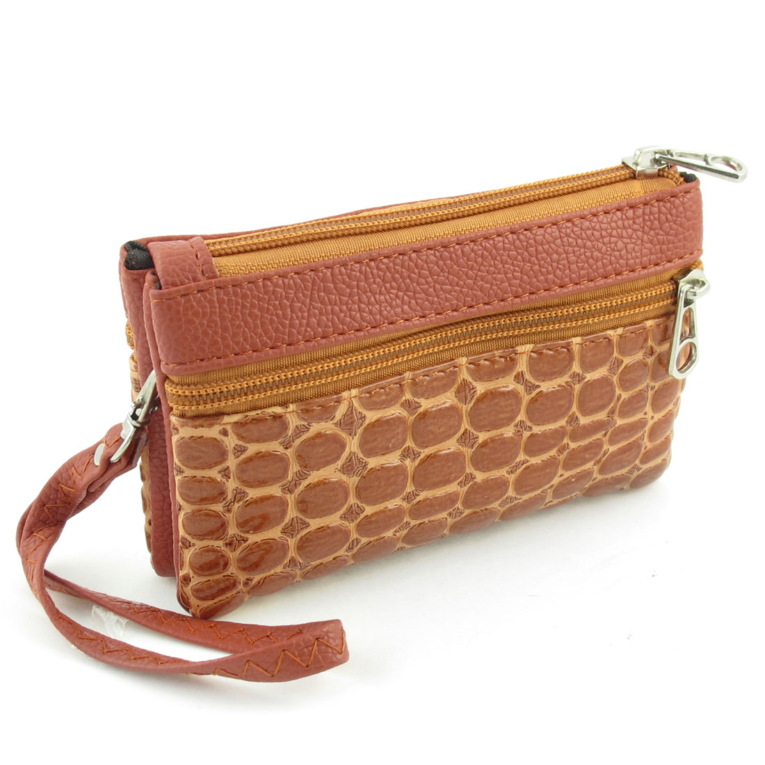 Women Rectangle Faux Leather Zip Up Crocodile Pattern Wallet Bag Brown