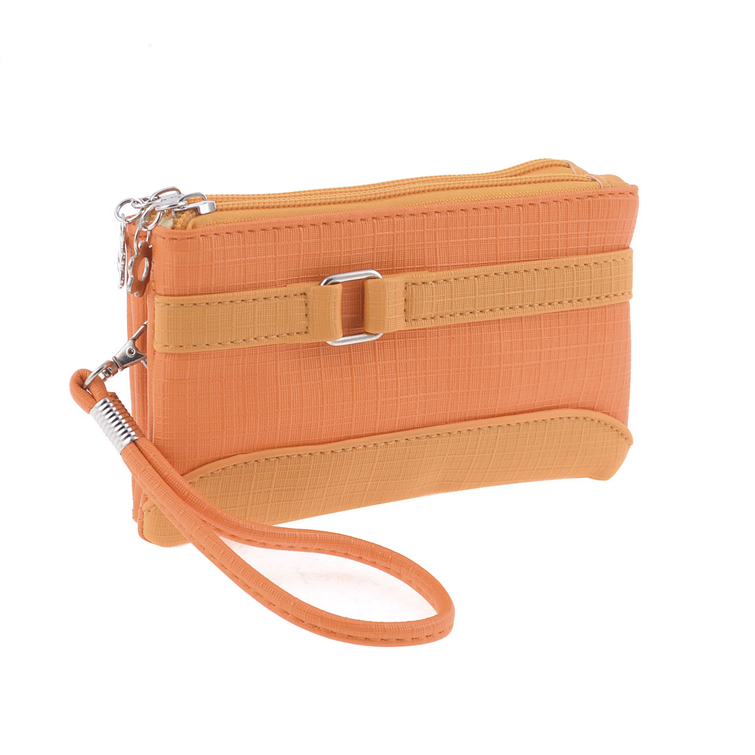 Lady Women Lobster Clip Detachable Hand Strap Orange Yellow Purse Bag Wallet