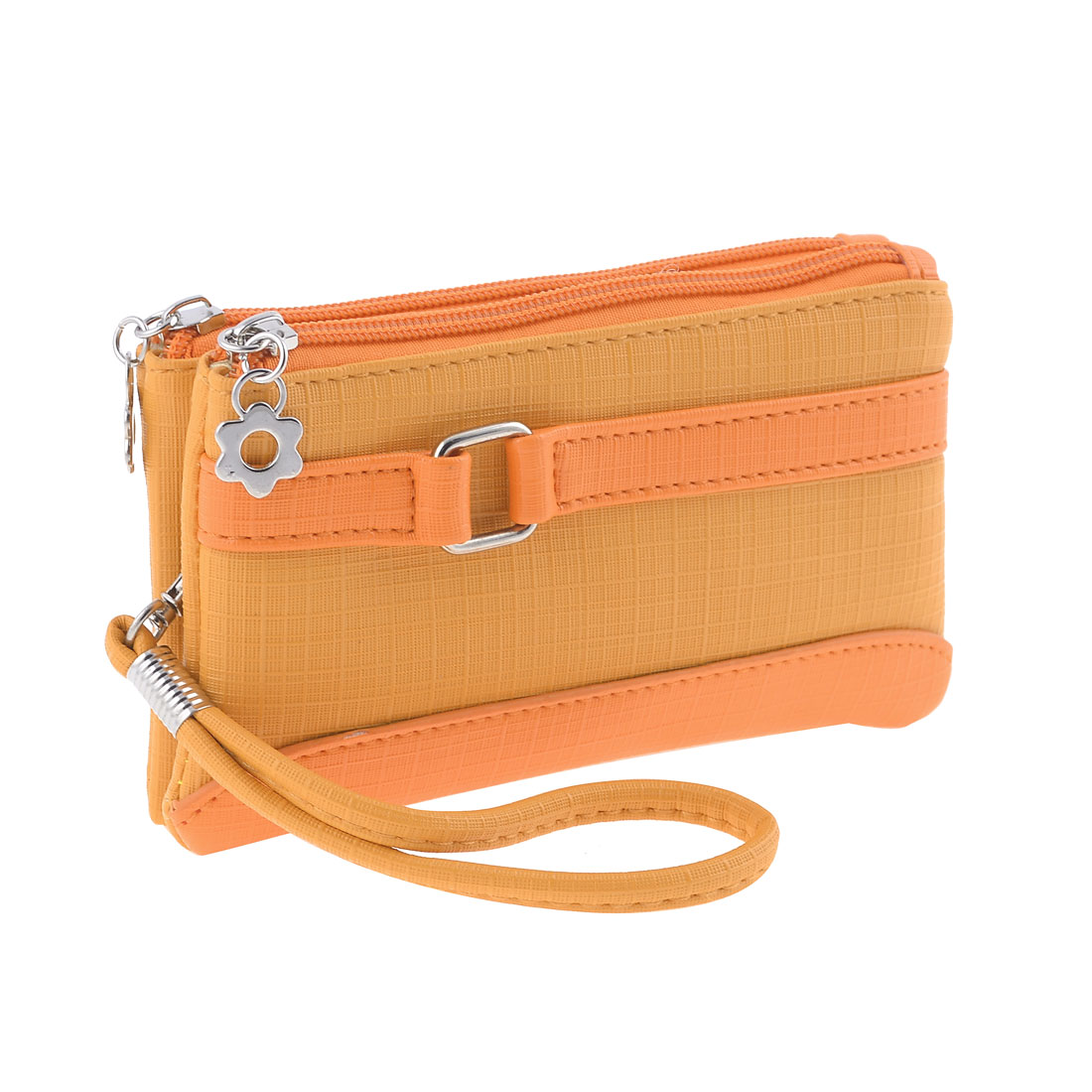 Ladies Woman Orange Yellow Rectangle Shaped Zipper Nylon Lining Wallet Purse