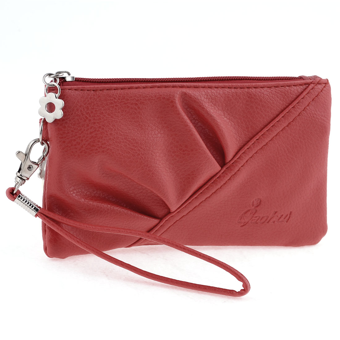 Women Zip Closure Small Pocket Side Rectangular Faux Leather Purse Bag Red
