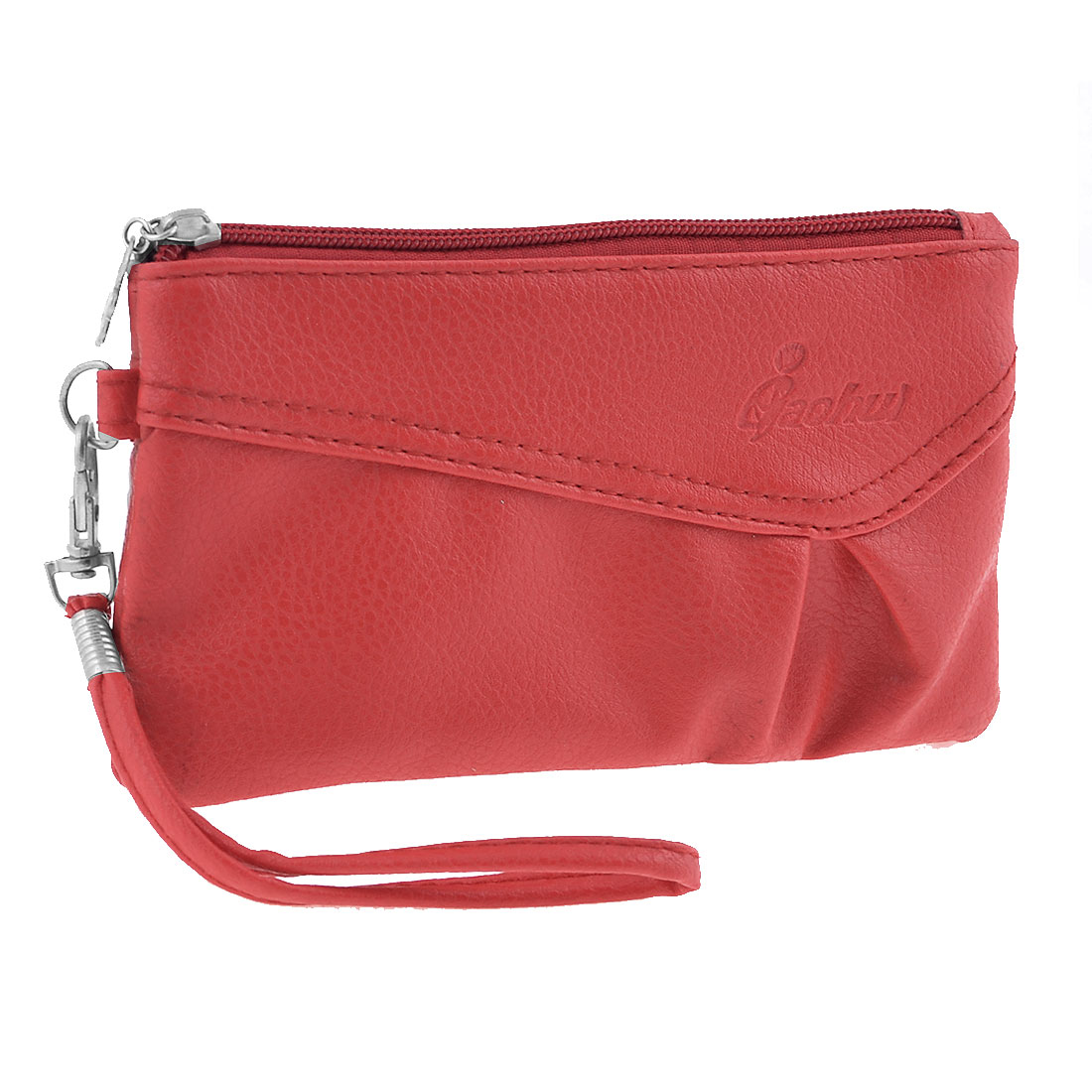 Lady Women Lobster Clip Detachable Hand Strap Purse Bag Wallet Red