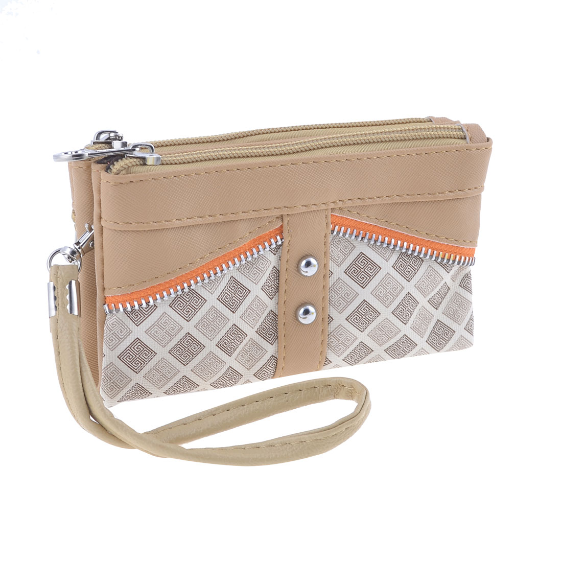 Ladies Woman Rectangle Shaped Zipper Nylon Lining Wallet Purse Khaki