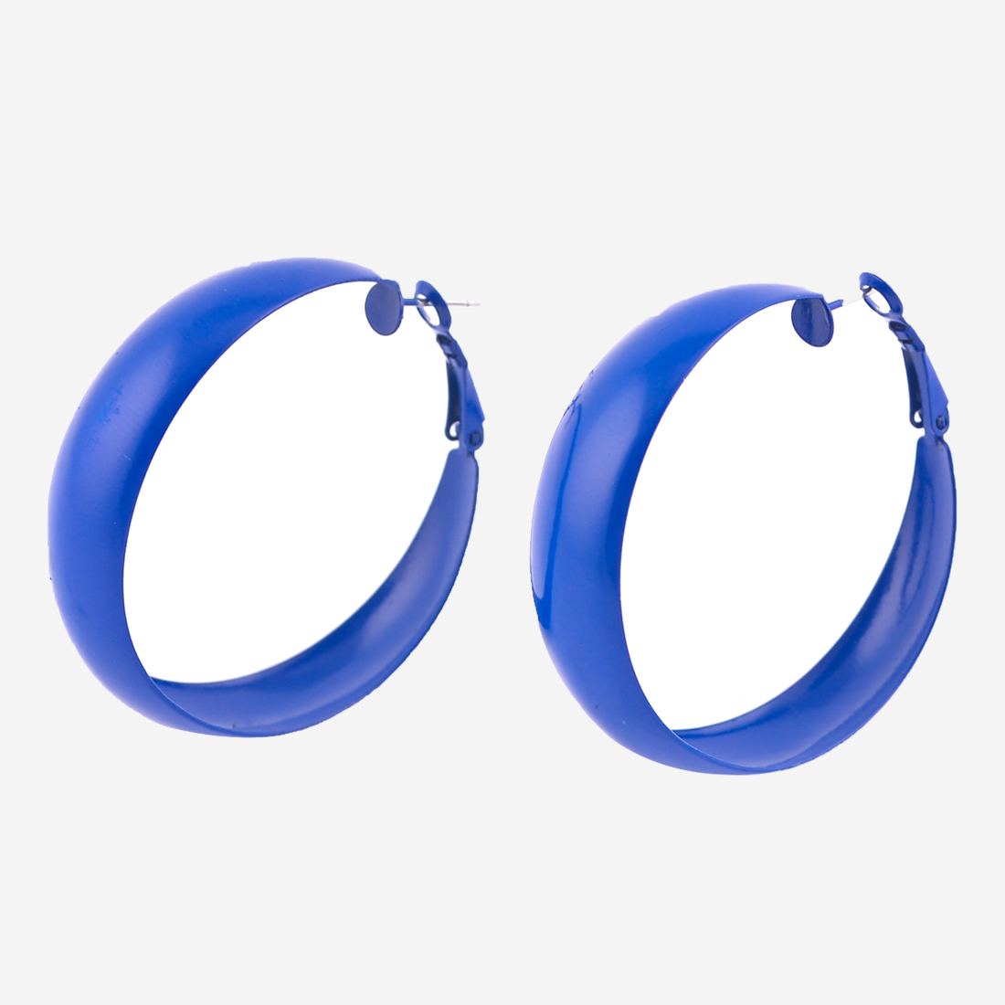 "Pair Blue 1.8"" Dia Metal Round Hoop Earrings for Woman"