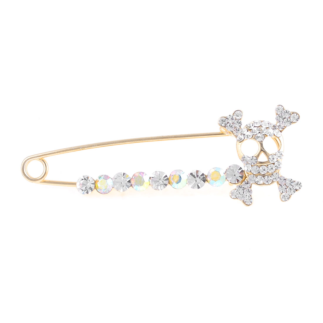 Rhinestone Skull Accent Safety Alloy Pin Brooch Breastpin Gold Tone