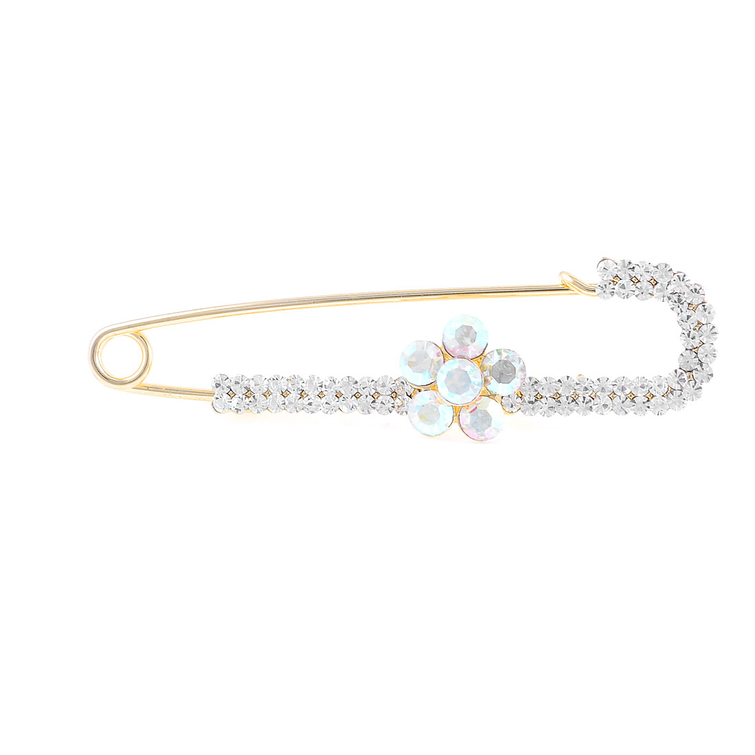 Bling Bling Rhinestone Flower Decor Safety Pin Brooch Broach Gold Tone