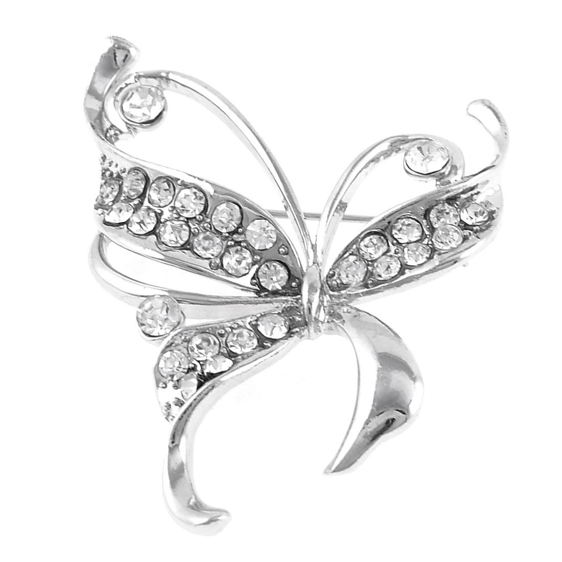 Glittery Rhinestone Inlaid Bowknot Detail Brooch Breastpin Silver Tone