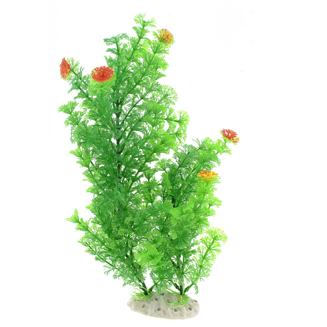 Fish Tank Aquarium Green Plastic Snowflake Shape Leaves Plants Grass 15.4""