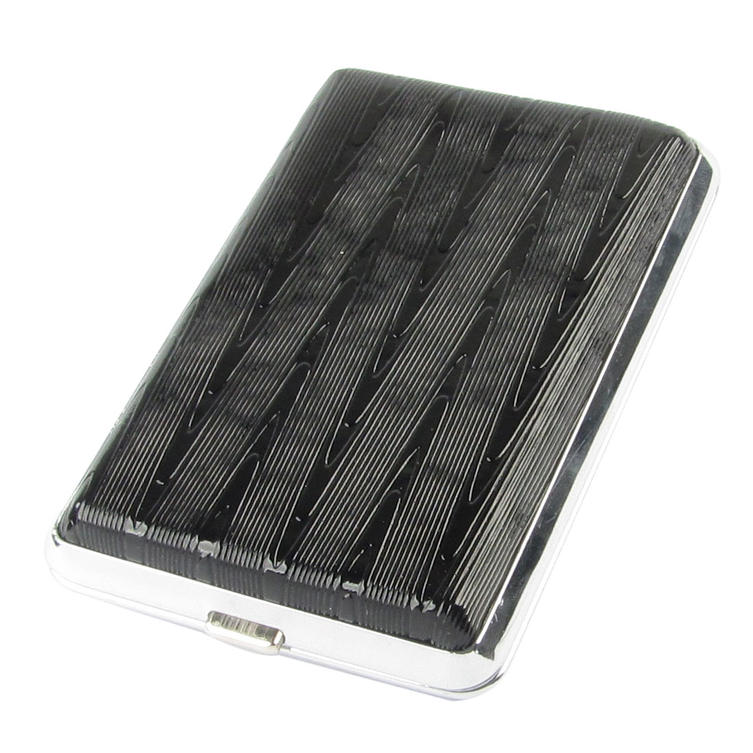 Gentleman Stripe Printed Black Faux Leather Coated Aluminum Cigarettes Box Case
