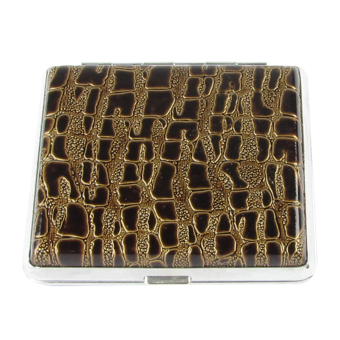 Man Alligator Pattern Faux Leather Coated Aluminum Cigarettes Tobacco Case Box