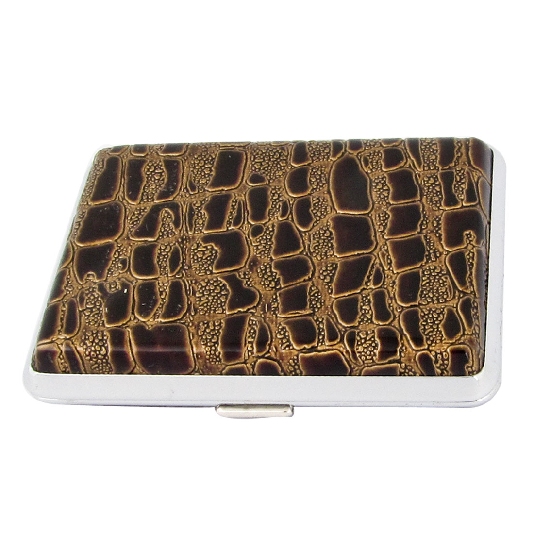 Man Brown Alligator Pattern Faux Leather Coated Cigarettes Tobacco Holder Case