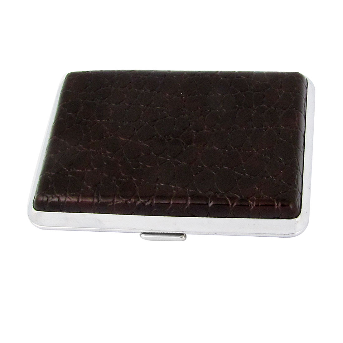 Man Dark Brown Alligator Pattern Faux Leather Metal Cigarettes Tobacco Case Box