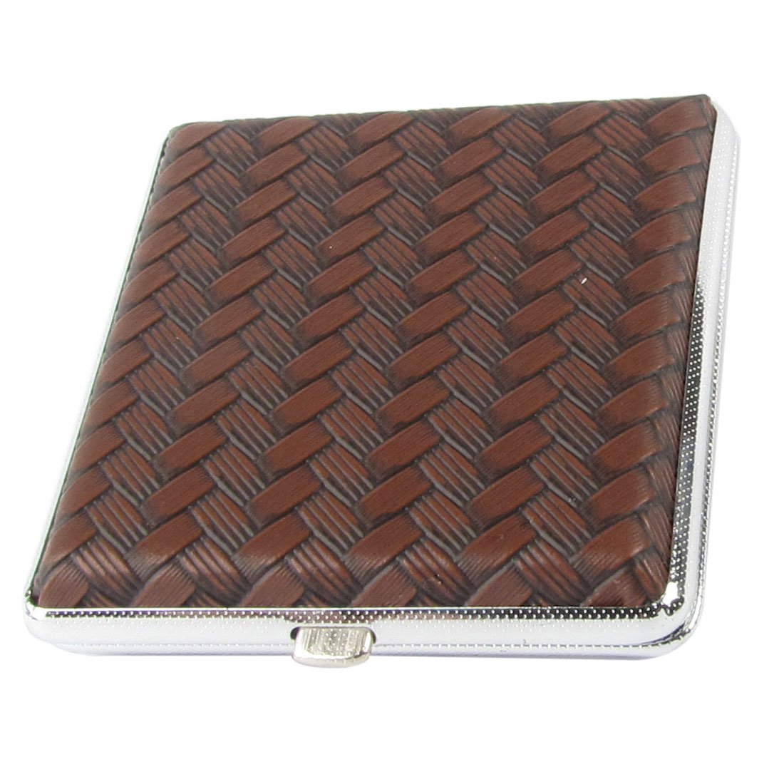 Gentleman Woven Pattern Brown Faux Leather Coated Metal Cigarettes Box Case