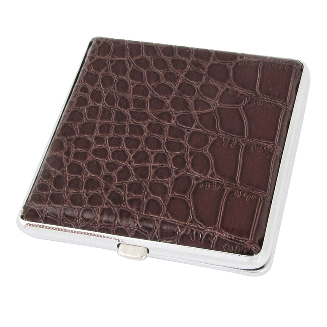 Man Brown Alligator Pattern Faux Leather Metal Cigarettes Tobacco Case Box